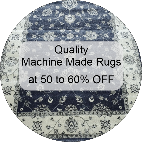 discounted machine made rugs at 50 to 60% off